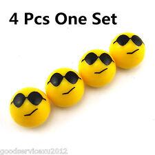 4 X Yellow Smile Face Wear Glasses Car Wheel Tyre Tire Valve Stems Cap Dust Caps