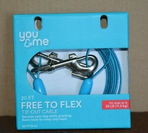 TIE OUT CABLE YOU & ME FREE TO FLEX (20 FT LENGTH) FOR DOGS UP TO 25 LBS