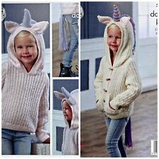 KNITTING PATTERN Girls Unicorn Hooded LongSleeve Jacket & Jumper PATTERN DK 5036