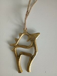 Nordic style gold metal christmas hanging reindeer 10cm