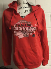 Chicago Blackhawks Majestic Red Attacking Line Fleece Hooded Sweatshirt Sz L $65
