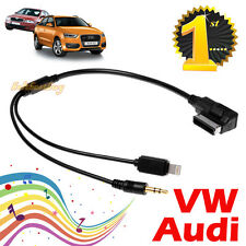 iPhone Media-In AUX IN 3.5 Mini Jack to AMI Cable Adaptor for VW Audi A3 A4 A6
