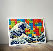The Great Wave Vintage Retro Surf Print Rainbow Poster Art Boys Room Cool Gift