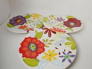 3 Laurie Gates Melamine Dinnerware Floral 1 Red 1 Purple 1 Dk Red Salad Plates