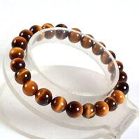 Fashion 8mm Yellow Tiger's Eye Round Gemstone Beads Elastic Bracelet 7.5''
