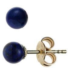JOBO Ohrstecker Kugel 585 Gold Gelbgold 2 Lapislazuli blau Ohrringe Goldohrsteck
