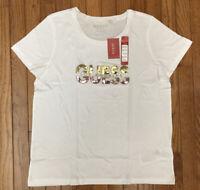New GUESS Woman's White Sequins Logo Tee Shirt Top T-shirt Sz XL MSRP $27
