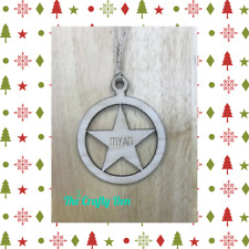 Personalised Christmas Tree Decoration Bauble Wood Star Gift Him Her Boy Girl