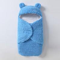AU_ Newborn Baby Winter Warm Soft Swaddle Wrap Cute Bear Sleeping Bag Anti-shock