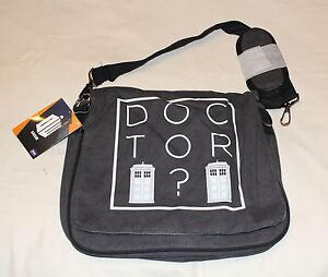 BBC Doctor Who Charcoal Printed Messenger Shoulder Satchel Bag New