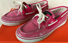 Sperry Top-Sider 9383258 SlipOn Pink Sequin Loafers 2-Eye Boat Shoes Women's 7.5