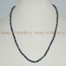 Natural 2x4mm Faceted Red Green Ruby In Zoisite Rondelle Beads Necklace 18''