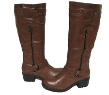 New Women's Riding Fashion Boots Brown Casual Shoes Winter Snow Ladies size 8