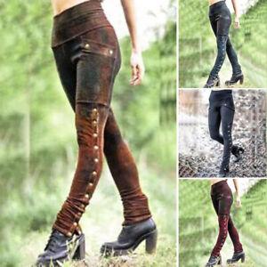Women Retro Gothic Leggings Ladies High Waist Rock Steam Punk Stretch Trousers