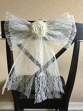 Ivory Lace Pew Bow Flower Chair Venue Wedding Rustic Chic  Wreath Country Decor