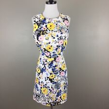 WAREHOUSE Floral Textured Sheath Dress Size US 12  UK 16  Blue Yellow Pink Retro