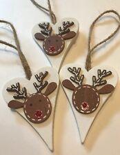 3 X Christmas Decorations Reindeer Shabby Chic Rustic Nordic Real Wood Jute Loop