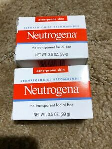 2 ~ NEUTROGENA Transparent Facial Bar ~ Acne-Prone Skin~  Soap 3.5oz each