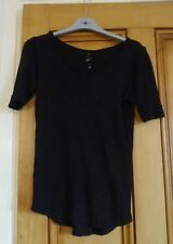 Ladies Black Size 8 10 XS Hip Length T Shirt Top Blouse Short Sleeves H&M