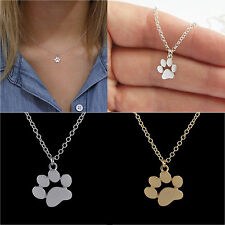 Paw Print Dog Tag Necklace Footprint Pendant Chain Charm Pet Cat Animal Jewelry