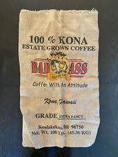 The Bad Ass Coffee Co Kona Hawaii 100lbs Extra Fancy Burlap Sack Hi Large Logo