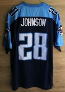 NFL TENNESSEE TITANS AMERICAN FOOTBALL SHIRT JERSEY REEBOK JOHNSON #28 SIZE 50