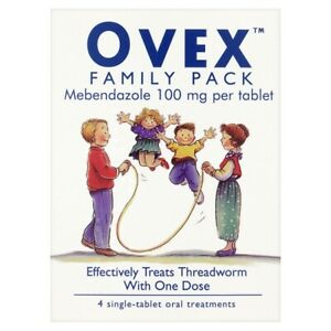 Ovex Family Pack - Treats Threadworm In One Dose - 1 Pack Of 4 Tablets