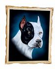 "18""X 22"" HAND PAINTED PITBULL DOG,VELVET PAINTING,DOGS,PIT BULL PAINTING"