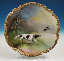 Antique Handpainted Limoges Charger Wall Plaque Bird Dog Game Bird Artist Signed