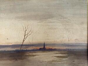 Eugène Ciceri, Paysage au clocher, aquarelle, ecole de barbizon, dessin