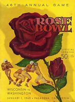1960 Rose Bowl Football program Wisconsin vs. Washington ~ scored ~ VG