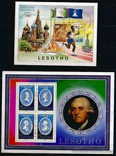 BL59 LESOTHO 2 blocks mint: flamme olympic and l' abolition of theslavery