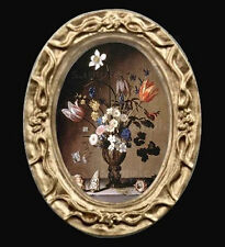 An Oval Floral Still Life Miniature Dollhouse Picture