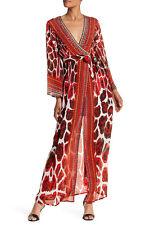 Shahida Parides Long Embellished Wrap Silk Dress RED/white/black sz S-M new