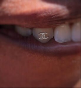 Teeth Gem Tooth Jewelry Popular Logo 18k Yellow Gold On 925 Sterling Silver lux