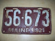 1921 MAINE / ME  LICENSE PLATE # 56-673-CAR-TRUCK-FORD-CHEVY-DODGE