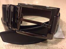 Brand New Salvatore Ferragamo Double Gancini Reversible Black Leather Belt - 32