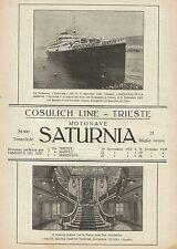W0408 Cosulich Line - Motonave Saturnia - Pubblicità 1927 - Advertising