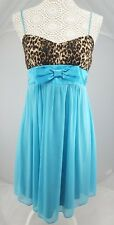 Ruby Rox Turquoise & Leopard Print Short Dress Belted Ribbon Lined Size8  v