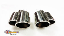 Pair of Stainless Steel Chrome Polished Sports Tail Pipes - Dual Exit Tailpipes