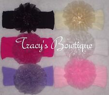 6 Baby Girls Puff Flower Clips w/ Nylon Pantyhose Interchangeable Headbands