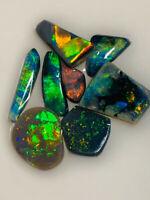 Australian Opal ROUGH L/R Rubs BLACK AAA BRIGHT TOP QUALITY 10.5cts WB611 VIDEO