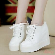 Fashion Women Shoes Hidden Wedge High Heel Creeper Sneakers Sport Lace Up Shoes