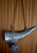 Vintage Pewter Drinking Horn With Black Forest Decoration