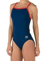 Speedo Womens Swimwear Red Blue Size 30 Endurance Flyback Swimsuit $69-  967