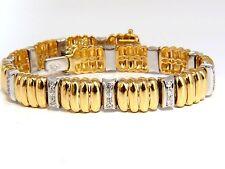 $5000 18KT 1.00CT NATURAL ROUND DIAMONDS GRILL DECO LINK TENNIS BRACELET