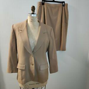 Pendleton Womens Petite 14 Tan 2 Piece Skirt Suit Wool Wear To Work Career