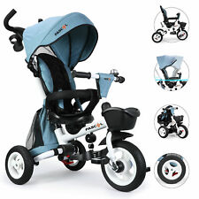 FASCOL Dreirad 4in1 Kinderwagen Fahrrad Kinderdreirad Babywagen Sonnendach Baby