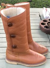 Old fashioned Sheepskin winter boots tan leather UK 5.5