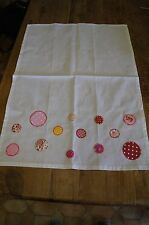 Handmade shabby chic decorated tea towel with pinks spots dots